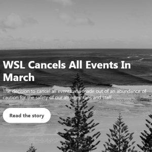 WSLサーフィン大会コロナで中止